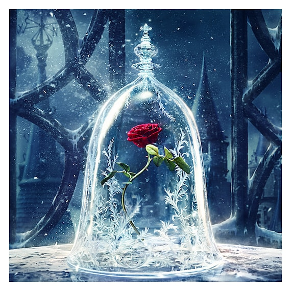 Beauty and the Beast Glass Rose 5D Painting