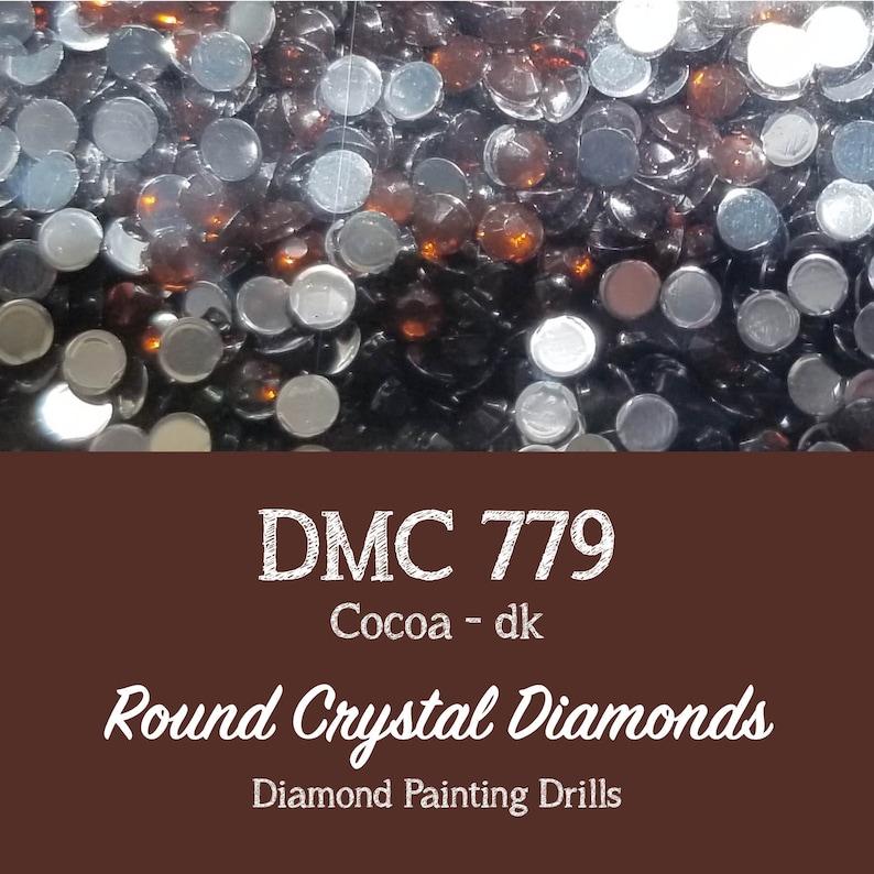 100 Pieces CRYSTAL DRILLS Round DMC 779 Round Diamond Painting Drills 779 Cocoa Rhinestone Drills Diamonds 2.8mm Shiny Flatback Crystals