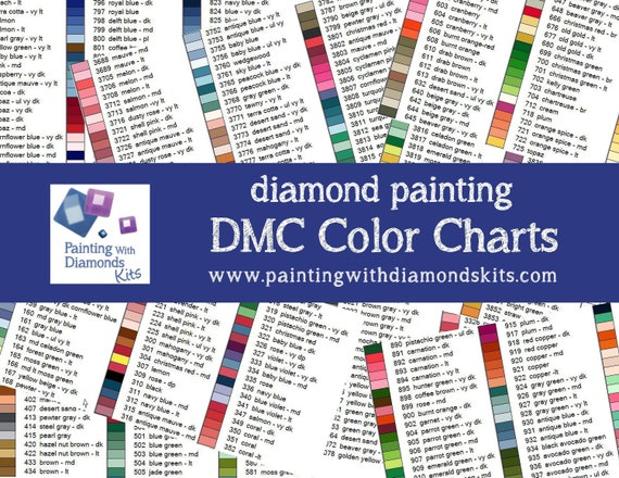 Dmc Color Charts Diamond Painting Drill Colors Printed Paper Etsy