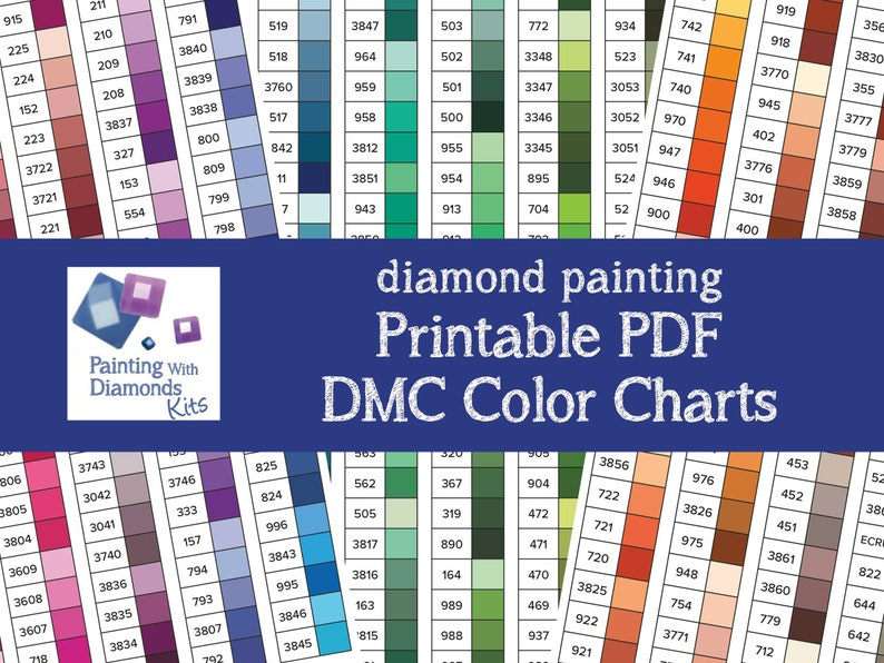 image relating to Printable Color Chart known as PRINTABLE PDF DMC Coloration Charts Diamond Portray Drill Shade Card Portray with Diamonds Kits Diamond Drills Coloration Print Your Particular Shade Chart