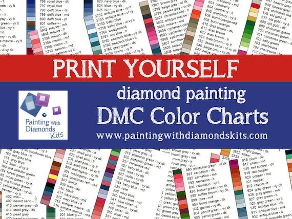 PRINT YOURSELF DMC Color Charts Diamond Painting Drill Color Charts Diamond  Painting Diamond Drill Color Charts Sorted Numerically & Name