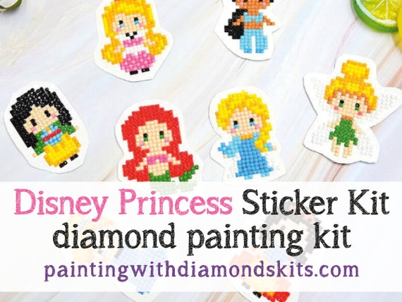 USChoice Princess Diamond Painting Stickers for Kids,8 PCS Cartoon Digital Mosaic Sticker for Boys Art Kit for Girls Painting by Number Kits Mosaic Making for Children Princess-B