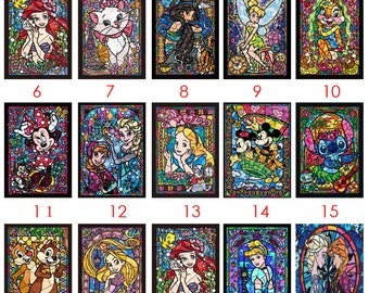 """DISNEY STAINED GLASS 15"""" x 19"""" Full Diamond Painting Embroidery Kit 5D Diamond Embroidery Needlework Paint With Diamonds Resin"""