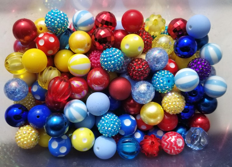 PRIMARY COLORS Bubble Gum Bead Mix 20mm Chunky Acrylic Bubble Gum Bead Lot Mixed Beads Plastic Round Bubblegum Beads Jewelry 20mm Bead
