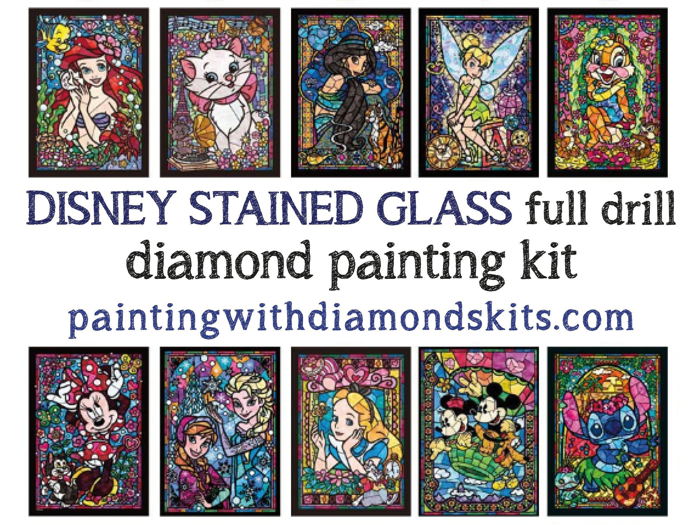 5d Diamond Painting Disney Stained Glass 15 X 19 Etsy