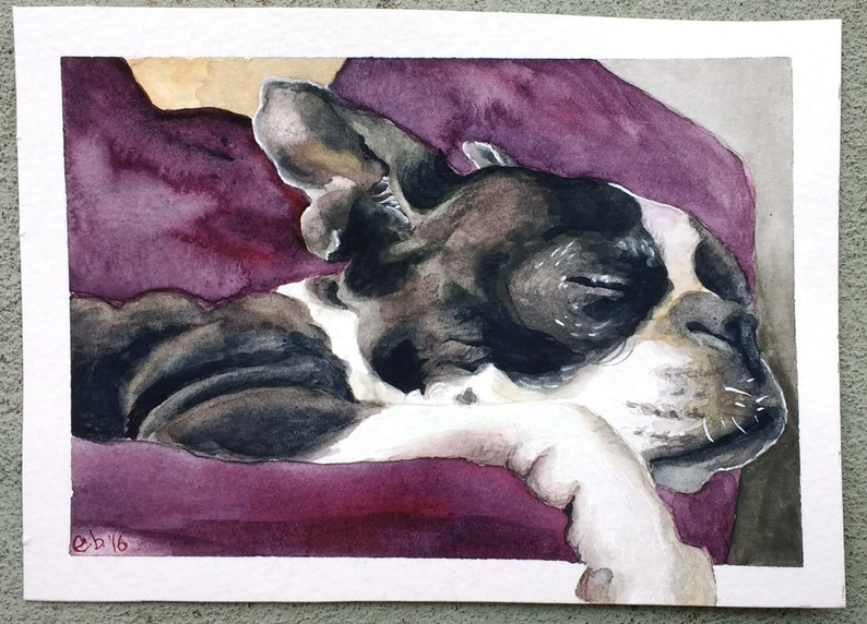 Memorial Portrait Dog Loss Sympathy Boston Terrier Dog Sympathy Gift Dog Remembrance