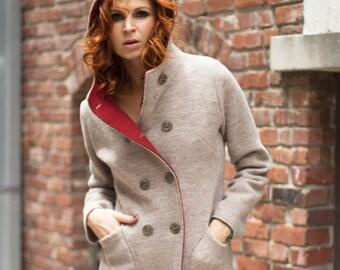 Beach melange and rust boiled wool women's coat with hood in Italian virgin merino wool