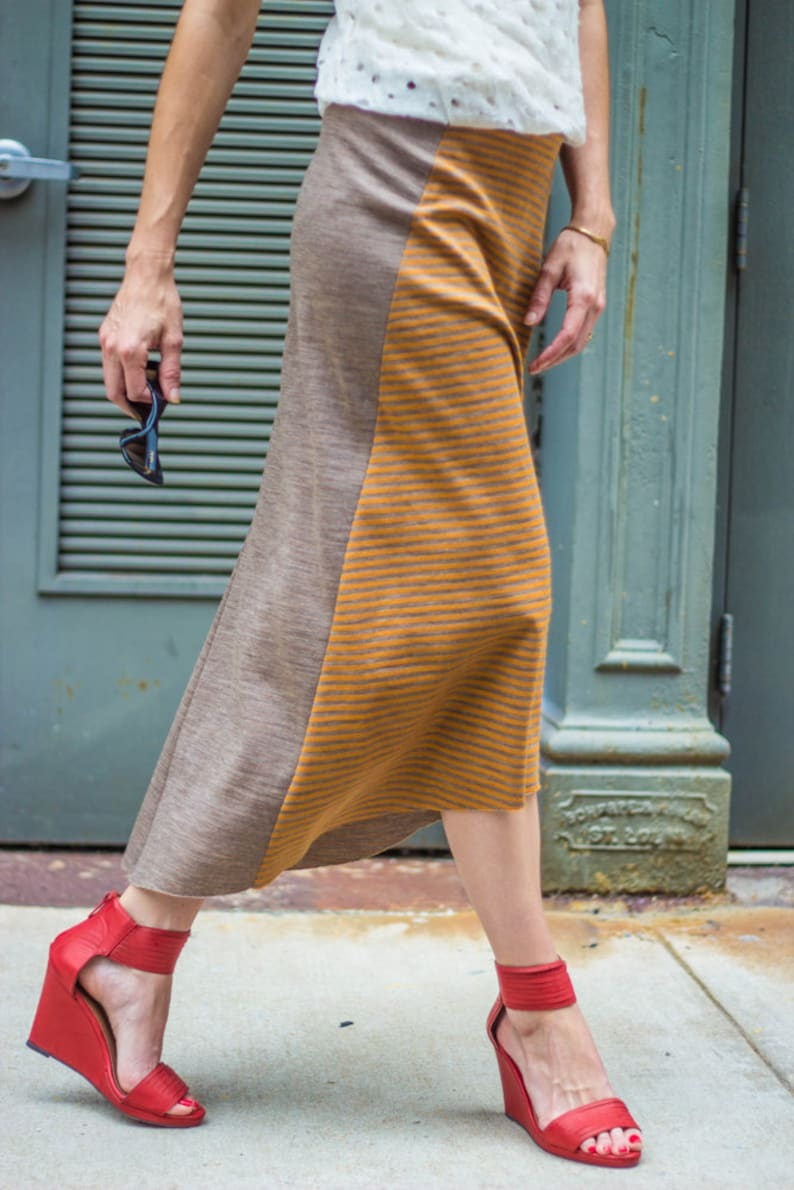 SALE HALF OFF HighLow hem women/'s skirt \u2022 gorgeous yellow /& bronze Japanese wool knit