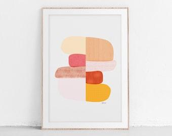 NEW STONES Mid Century Modern Printable Wall Art, Abstract Art Print, Modern Art Spring Decor, New Home Gift, Gallery Wall Art