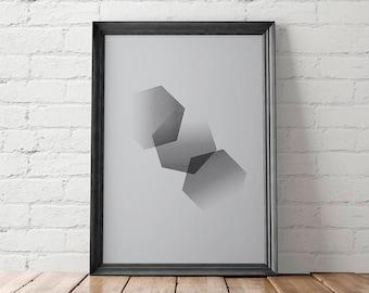 Geometric Printable, Geometric Wall Art, Geometric Home Decor, Geometric Art Prints, Hexagons Printable, Modern Printable