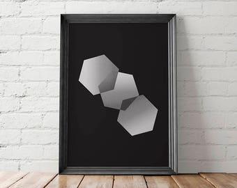 Minimalist Printable, Minimalist Wall Decor, Minimalist Print, Minimalist Poster, Hexagon Printable, Modern Printable