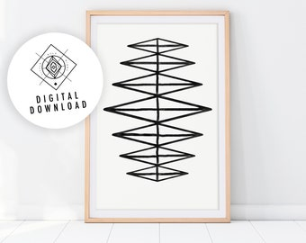 STAIRS Black and White Minimalist Printable Wall Art, Geometric Poster, Monochrome Art Print, Modern Wall Art, Abstract Bedroom Decor