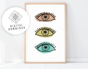EYES Printable Wall Art, Evil Eye Prints, Boho Evil Eye Print, Minimalist Poster, Boho Decor, Bohemian Wall Decor