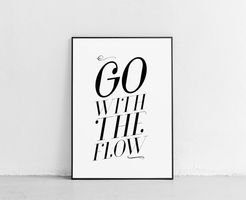 image relating to Printable Motivational Posters named Motivational Poster, Artwork Printable, Residence Decor, Minimalist Print, Move With the Stream Estimate