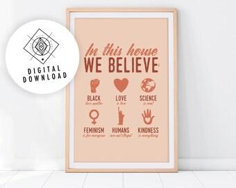 Terracotta Feminist Printable Wall Art, Protest Poster, Burnt Orange Family Rules Print, Boho Empowerment Art Prints, LGBTQ Art