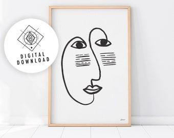 MASQUE Abstract Face Line Art Printable, One Line Print, Boho Print, Neutral Print, Minimalist Printable Art, Line Illustration