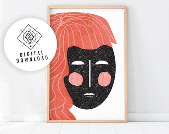 Abstract Face Art Printable, Modern Art, Female Portrait, Boho Wall Decor, Fashion Illustration, Woman Face Drawing, Feminine Poster
