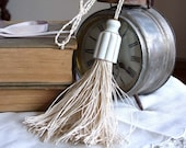 VINTAGE OFF WHITE  LINEN TWINE TASSEL WITH PORCELAIN TOP
