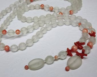 Branch Coral Lariat Necklace, Art Deco Revival Jewelry, Frosted Bead Long Flapper Necklace