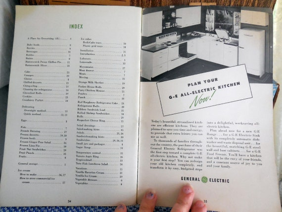 General Electric GE 1951 Space Maker Refrigerator Manual & Cookbook -  Charming Illustrations, Kitschy Kitchen - Recipes, Ephemera