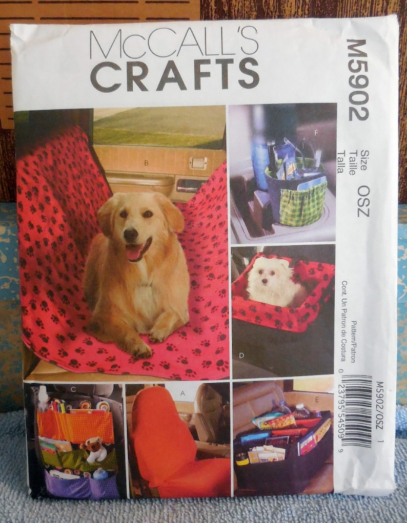 McCall's 5902 - DIY Car Accessories - Pet Blanket, Pet Carrier, Cup Caddy,  Car Caddy, Seat Pockets, Bucket Seat Cover, Etc  - UNCUT Pattern