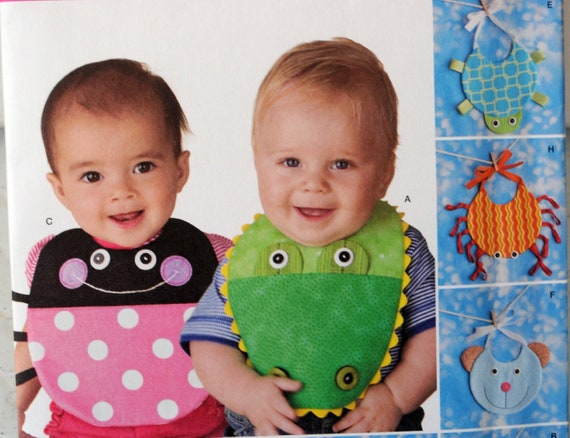 Simplicity Pattern 2468 Adorable Baby Bibs shower gifts turtle ladybug bear more