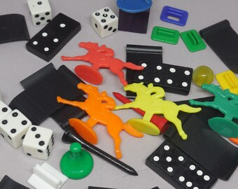 Vintage Lot Game Pieces - Dice, Game Tokens, Horses, Dominoes, Golf Tees, etc. for Crafting, Assemblage, Cpllage, Art, Etc. - Destash