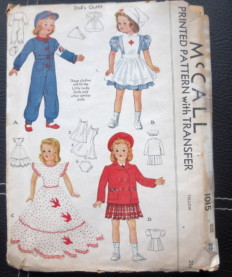 c82e70eb89e63 McCall 1015 1940s Doll Clothes For Little Lady | Etsy