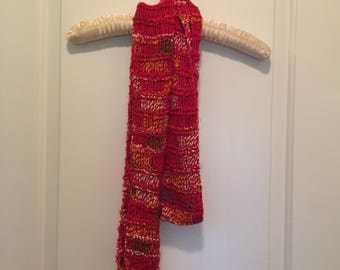 Handknit Cotton scarf multi red