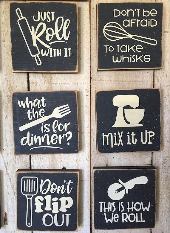 Kitchen Wall Art Cooking Pun Signs Mini Kitchen Wood Sign 5 X 5 Black And White Kitchen Decor Farmhouse Kitchen Funny Kitchen Quotes