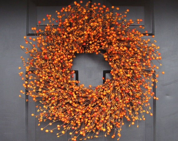 BESTSELLER Pumpkin Pie Fall Wreath, Thanksgiving Wreath Berry Wreath, Thanksgiving Decor XL 18 - 24 INCH Sizes Available