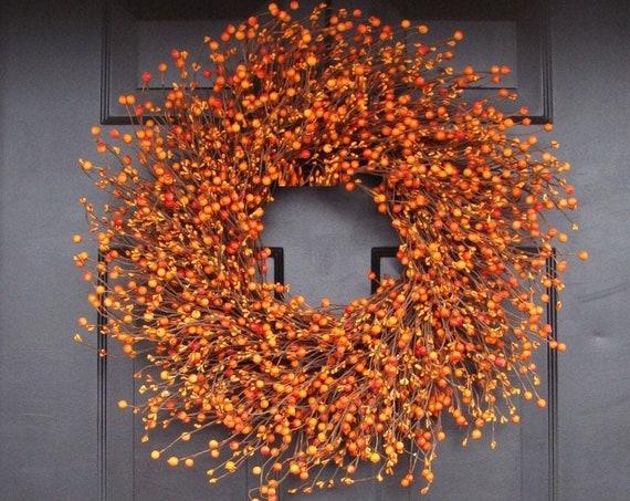 BESTSELLER Pumpkin Pie Fall Wreath, Thanksgiving Wreath Berry Wreath, Thanksgiving Decor XL 16 - 26 INCH Sizes Available