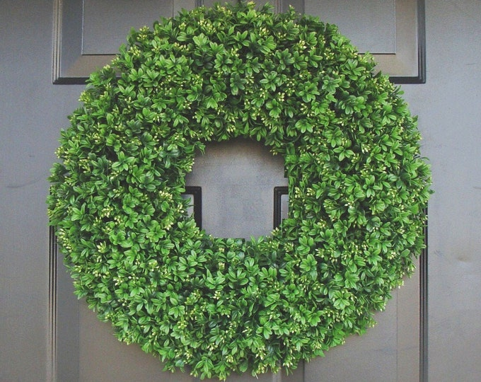 Realistic Artificial Boxwood Wreath-(12 to 30 inch Sizes available)-Window Wreath-Holiday Window Decoration