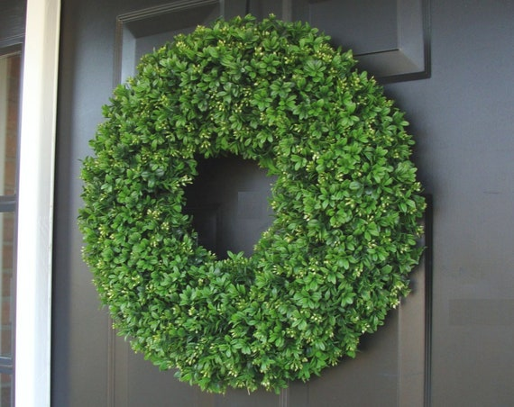 Realistic Artificial Boxwood Wreath-(14 to 30 inch Sizes available)-Window Wreath-Holiday Window Decoration