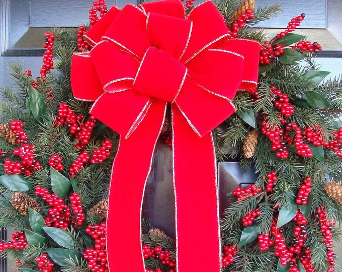 Weatherproof Outdoor Christmas Bow for Wreath, Handmade Red Bow Christmas Decor, Wired Ribbon Front Door Mailbox, Fencepost, Waterproof
