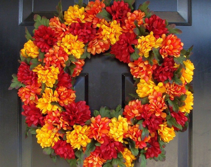 Colorful Mums Fall Wreath, Thanksgiving Wreath, Harvest Fall Wreath Fall Colors, Fall Wreaths, Fall Decor, XL Door Wreath, Grapevine Wreath
