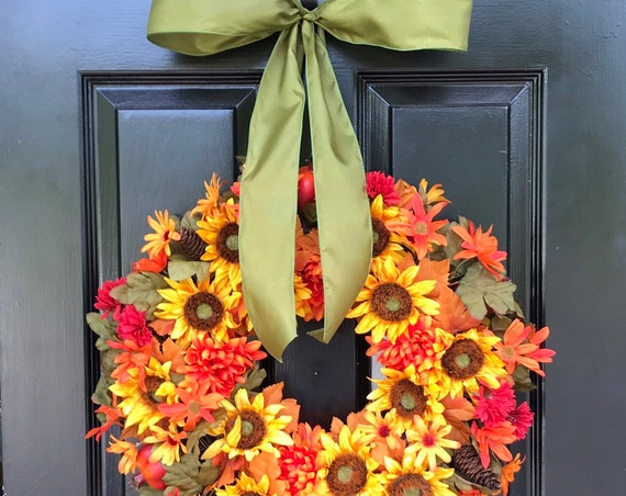 Silk Floral Wreath- Fall Wreaths- 18 inch- Flower Wreath- Front Door Decoration- Year Round Decor- Flower Decoration- Autumn Wreaths