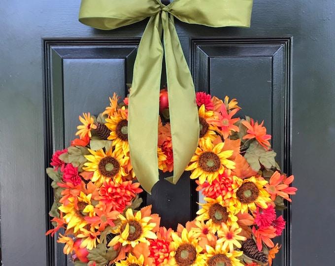 Silk Floral Wreath- Fall Wreaths- 18 inch- Flower Wreath- Front Door Decoration- Year Round Decor- Flower Decoration- Autumn Wreaths