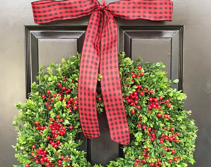 Farmhouse Christmas Wreath Front Door Outdoor Boxwood Red Berries Holiday Wreath Winter Farmhouse decor- Storm Door Wreath Decor