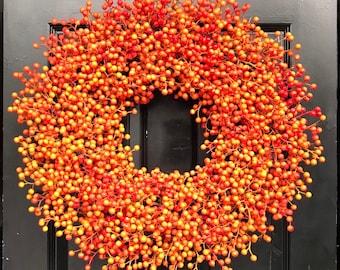 Orange Weatherproof Berry Wreath, Waterproof Fall Wreath, Halloween Decor, Halloween Wreath Decoration, Artificial Berries 24 inch shown