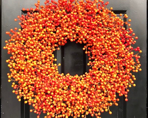 Orange Weatherproof Berry Wreath, Fall Wreath, Halloween Decor, Halloween Wreath Decoration, WEATHERPROOF Artificial Berries 24 inch shown