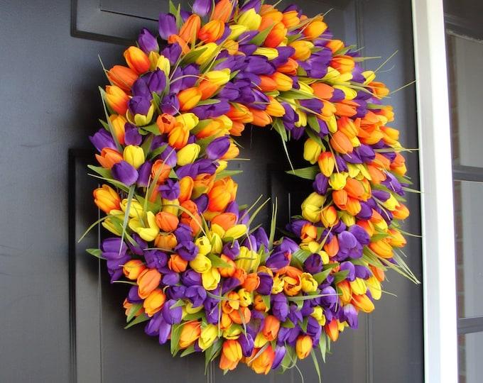 Tulips Spring Wreath- Spring Decor- Spring Tulip Wreath, Custom Colors and Sizes- Summer Wreath- The ORIGINAL Tulip Wreath