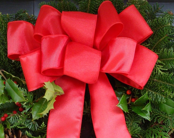 Handmade Outdoor Wired Bows for Christmas Decor, Christmas Wreath Bow, Christmas Decoration, Bow for Decorating,  Choose Your Color, XL Size