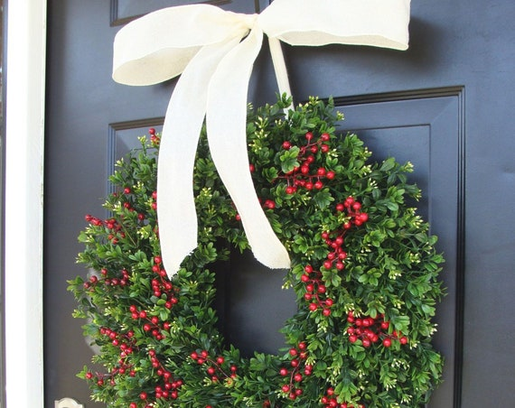 Weatherproof Outdoor Boxwood Red Berries Christmas Wreath-Holiday Wreaths-Winter Christmas Decor-Thin Storm Door Wreath Decoration14-24 inch