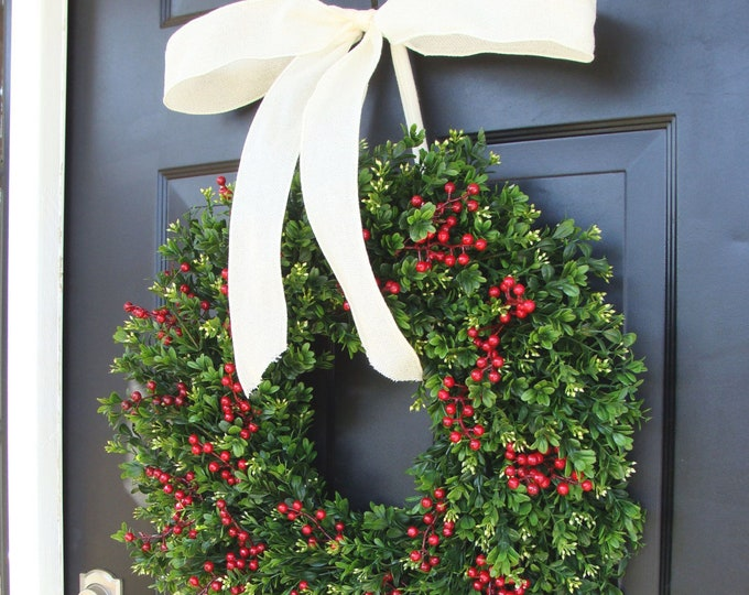 Christmas Wreath Front Door Boxwood Red Berries Christmas Wreath Waterproof Holiday Winter Wreath- Wreath Decor Christmas Decor-Christmas