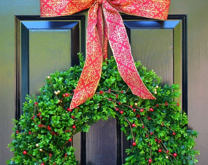 Holiday Wreath- Boxwood Wreaths with Red and Gold Berries Christmas Wreath- Winter Wreath- Holiday Decor- Christmas Decor