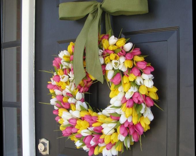 Spring Wreath- Summer Wreath- Mother's Day Gift- Summer Decor- Burlap Ribbon, Custom Colors The ORIGINAL Tulip Wreath