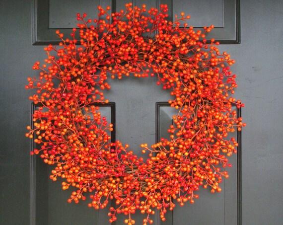 Orange Weatherproof Berry Wreath, Fall Wreath, Halloween Decor, Halloween Wreath Decoration, WEATHERPROOF Berries