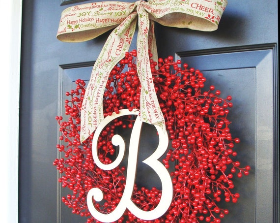 Red Berry Christmas Wreaths, Holiday Decor, Outdoor Weatherproof Berry Wreaths, Thanksgiving Wreath, Fall through Valentines Day Wreath