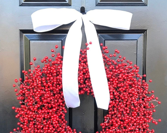 Red Berry Christmas Wreath, Front Door Christmas Decor, Christmas Wreath, Berry Wreaths, Wedding Decor, Winter Wreath